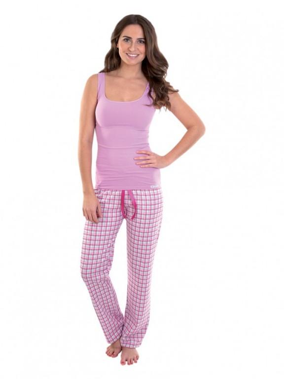 Dámské pyžamové kalhoty ZOE růžové káro