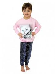Dívčí dlouhé pyžamo CATS růžové č.1