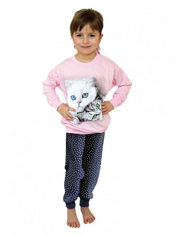 Dívčí dlouhé pyžamo CATS růžové