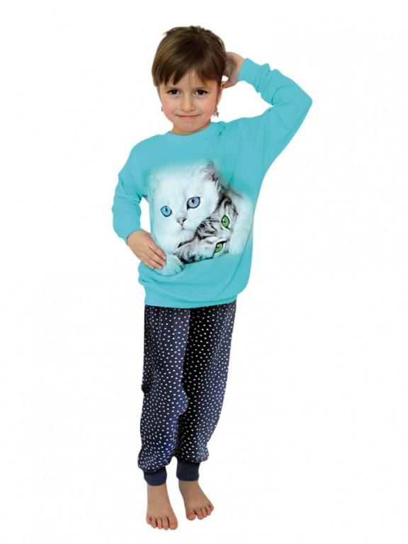Dívčí dlouhé pyžamo CATS azurové
