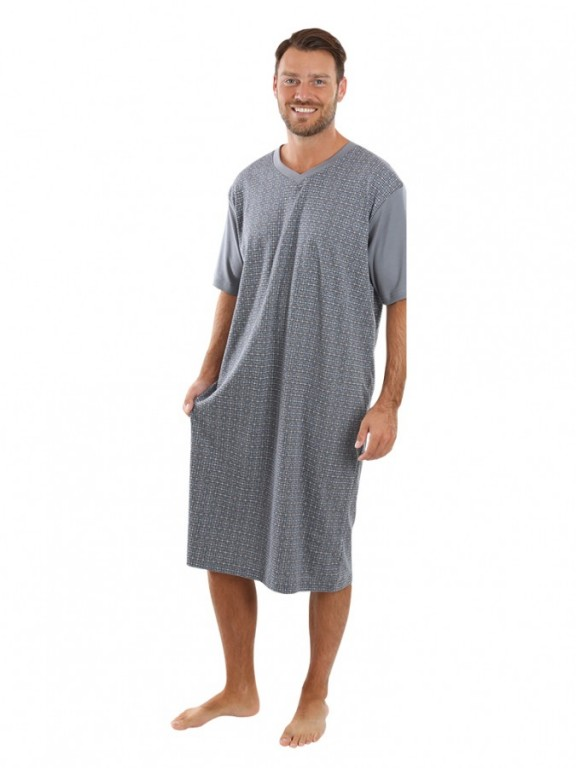 Pánská noční košile KEVIN šedo-vínová