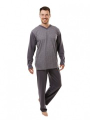 Pánské dlouhé pyžamo P 1403 šedé č.1