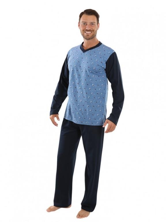 Pánské dlouhé pyžamo P 1403 šedé