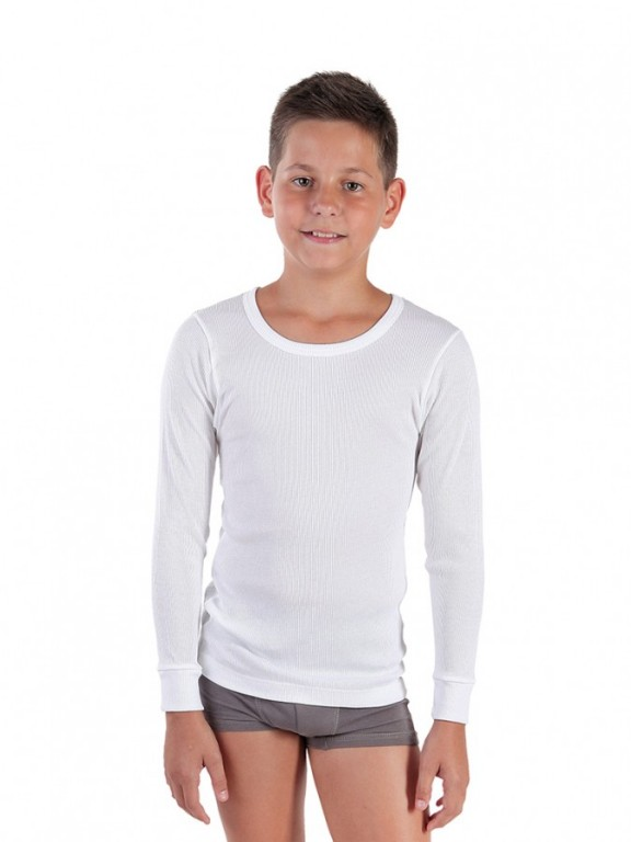 Chlapecký nátělník s dlouhým rukávem PALKO bílý