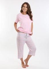 Dámské kárované pyžamo TEANA růžové č.1
