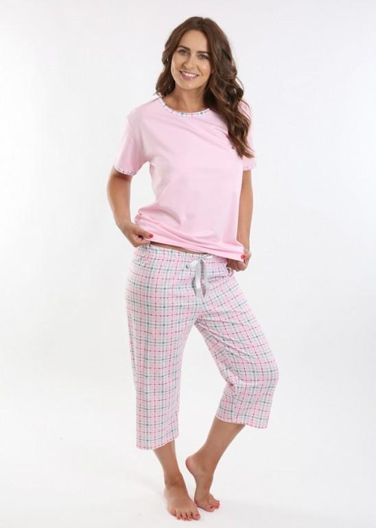 Dámské kárované pyžamo TEANA růžové