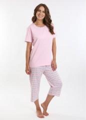 Dámské kárované pyžamo TEANA růžové č.2