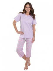 Dámské kárované pyžamo TEANA fialové č.1