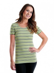 Dámské proužkované triko SISA zelené č.1