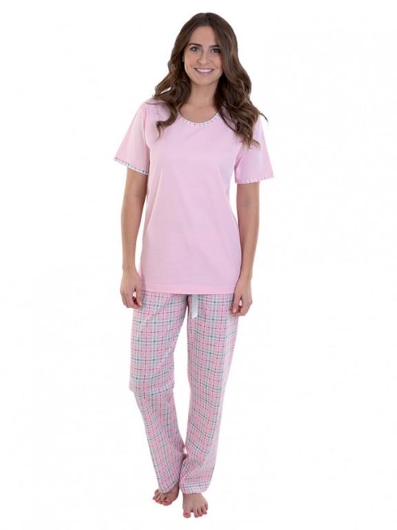 Dámské kárované pyžamo TINA růžové