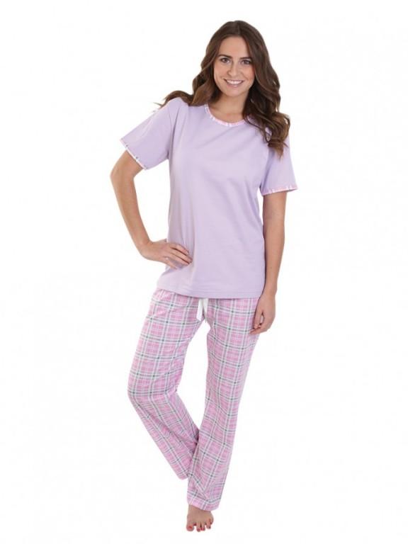 Dámské kárované pyžamo TINA fialové