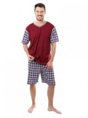 Pánské krátké pyžamo JOHAN vínové č.1