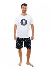 Pánské krátké pyžamo P1605 bílé č.1