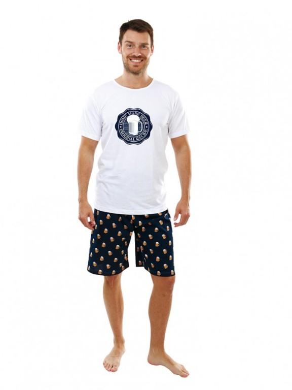 Pánské krátké pyžamo P1605 bílé