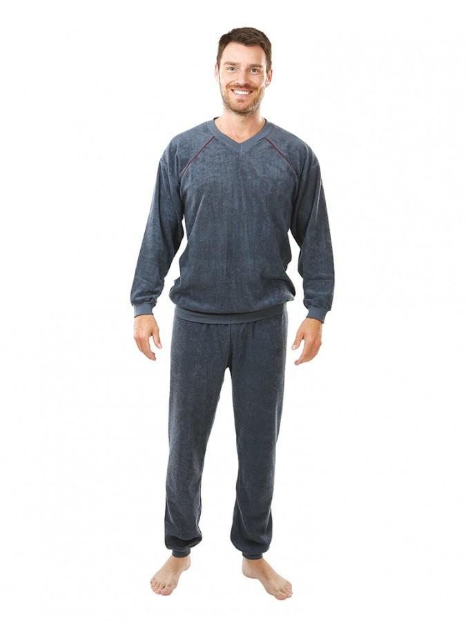 Pánské froté pyžamo P 1427 šedé  af57d2e09f