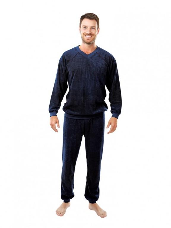 Pánské froté pyžamo P 1427 tmavě modré