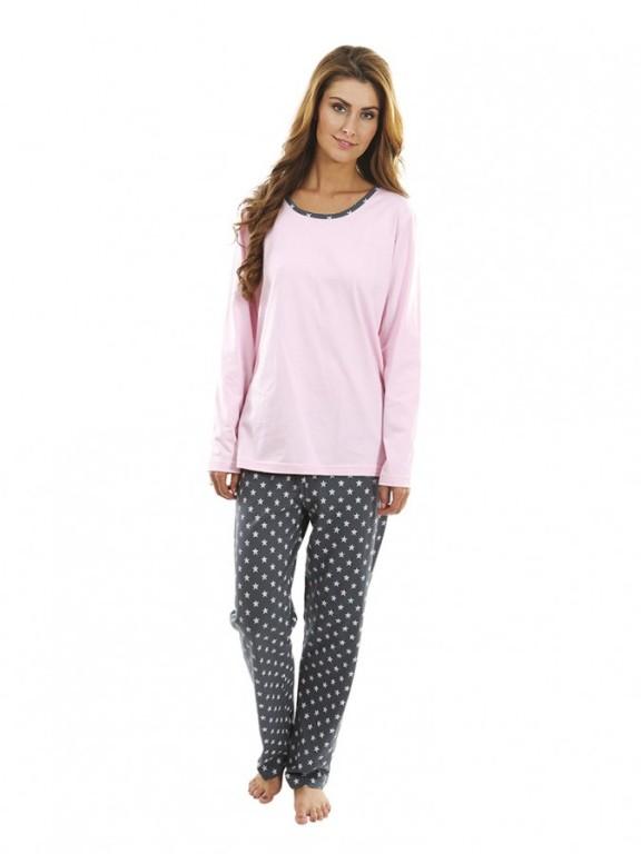 Dámské pyžamo P1424 růžové hvězdičky
