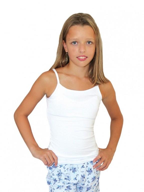 Dívčí elastická košilka 7004 bílá