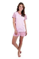 Dámské krátké pyžamo LINDA růžové káro č.1