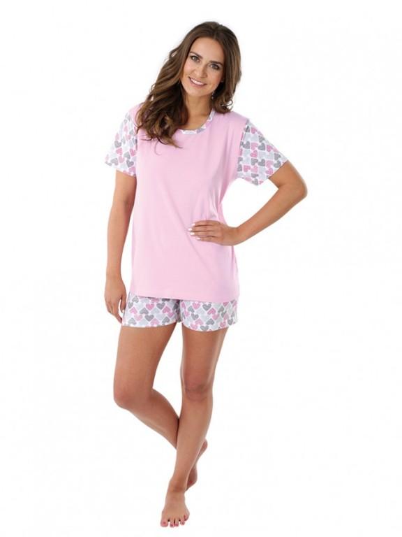 Dámské krátké pyžamo LINDA srdíčka
