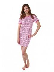 Dámská noční košile P1411 růžové káro č.1