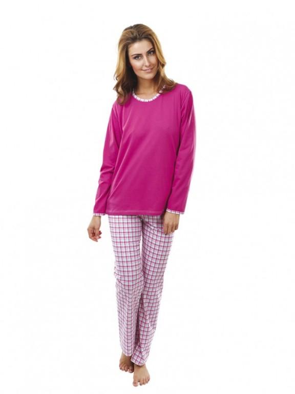 Dámské pyžamo P1407 růžové káro