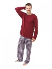 Pánské dlouhé pyžamo P 1405 vínové č.1