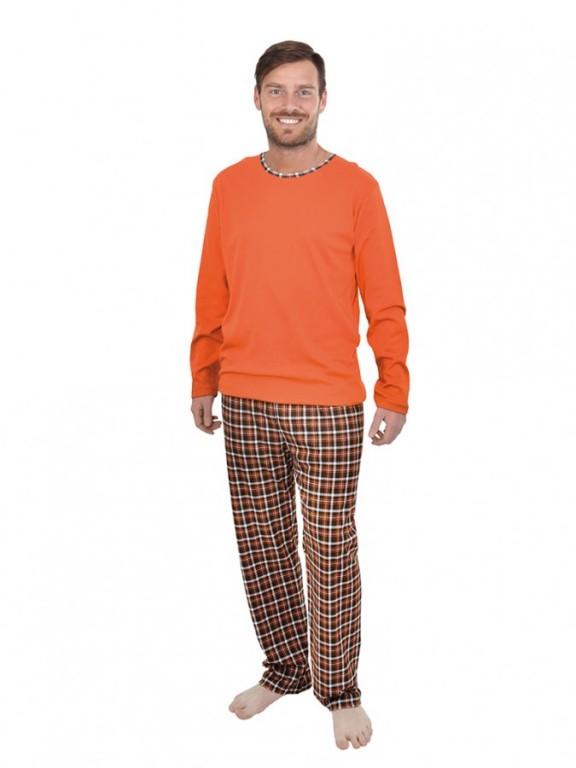 Pánské dlouhé pyžamo P 1405 oranžové