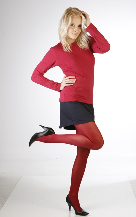 Neprůhledné punčochové kalhoty MAGDA 242 červené  7de65db536