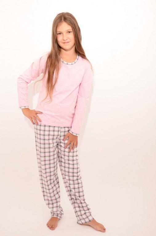 Dívčí pyžamo P 1414 růžové káro