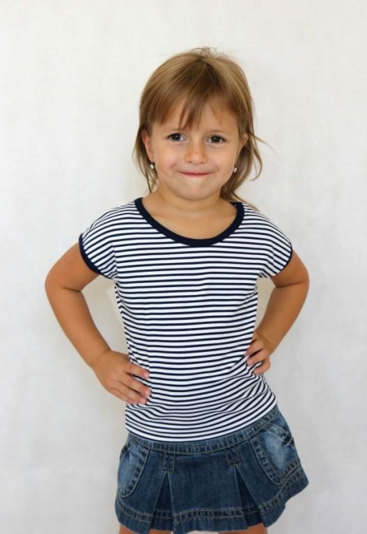 Dívčí letní tričko MIRINKA modré srdíčka