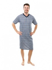 Pánská noční košile KEVIN šedo-vínová č.1