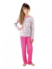 Dívčí pyžamo P 1413 srdce šedé č.1