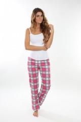 Dámské pyžamové kalhoty ZOE růžovo-šedé káro č.1