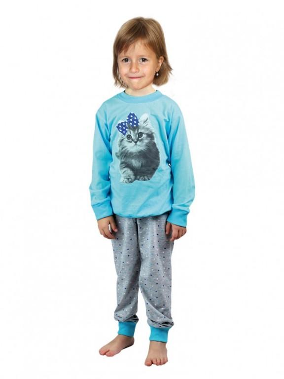 Dětské dlouhé pyžamo KITTY azurové