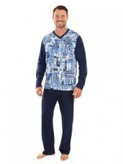 Pánské dlouhé pyžamo SVEN modré č.1