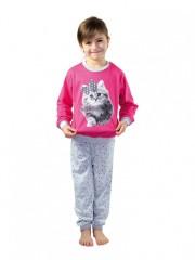 Dětské dlouhé pyžamo KITTY růžové č.1