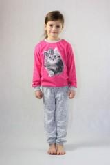 Dětské dlouhé pyžamo KITTY růžové č.2