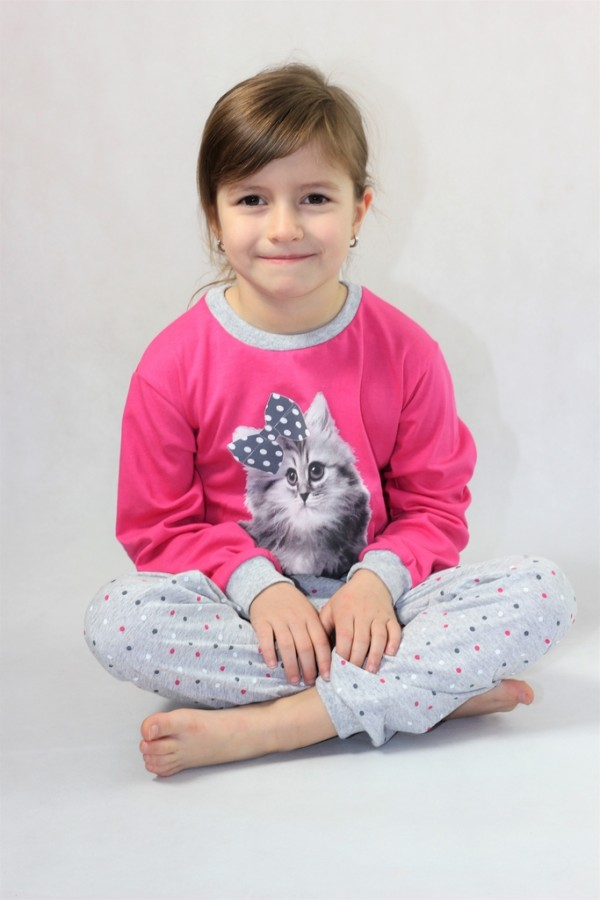 Dětské dlouhé pyžamo KITTY růžové  eaaae64174