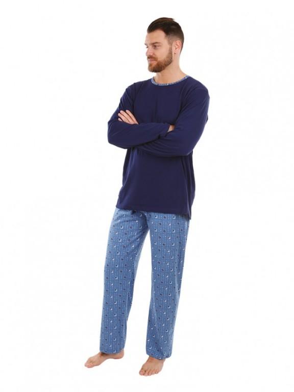 Pánské dlouhé pyžamo P 1405 modré