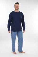 Pánské dlouhé pyžamo P 1405 modré č.2