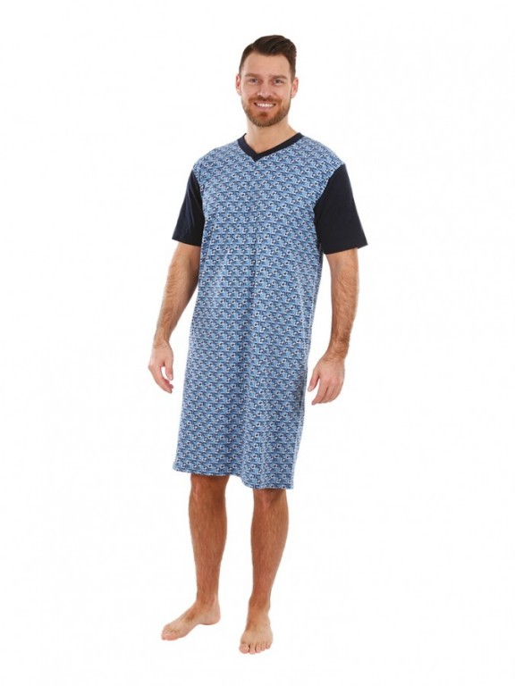 Pánská noční košile KEVIN obdelníky modré