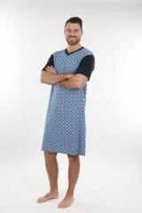 Pánská noční košile KEVIN obdelníky modré č.2