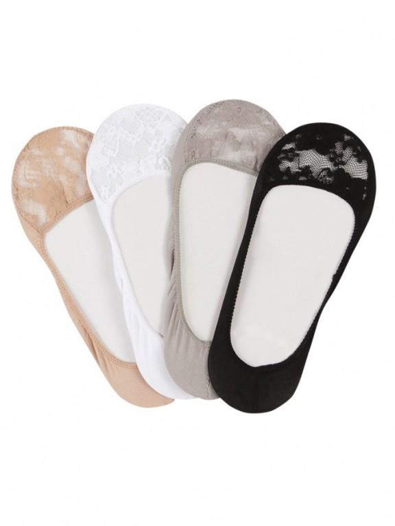 Dámské krajkové ponožky do balerín KRAJANKY černé