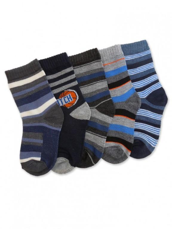 5 PACK dětských pruhovaných ponožek