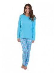 Dámské pyžamo P1407 tyrkysové káro č.1