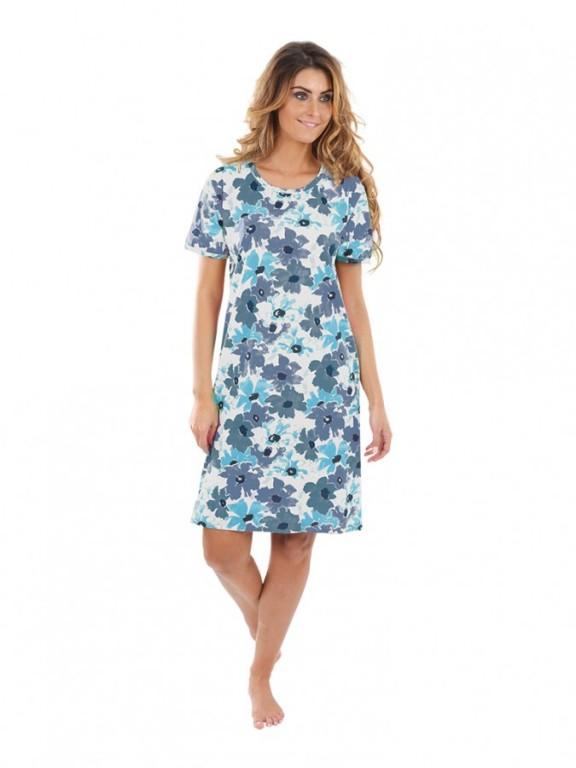 Dámská noční košile P1411 květy modré