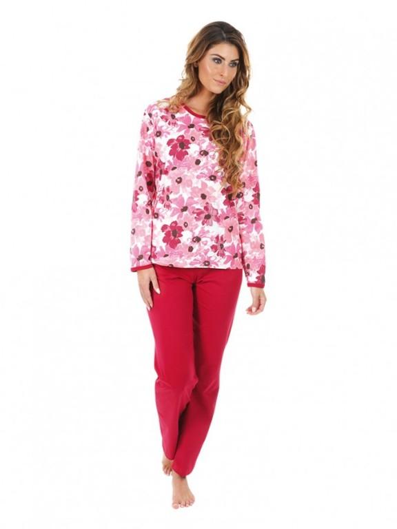 Dámské pyžamo P1406 květy růžové