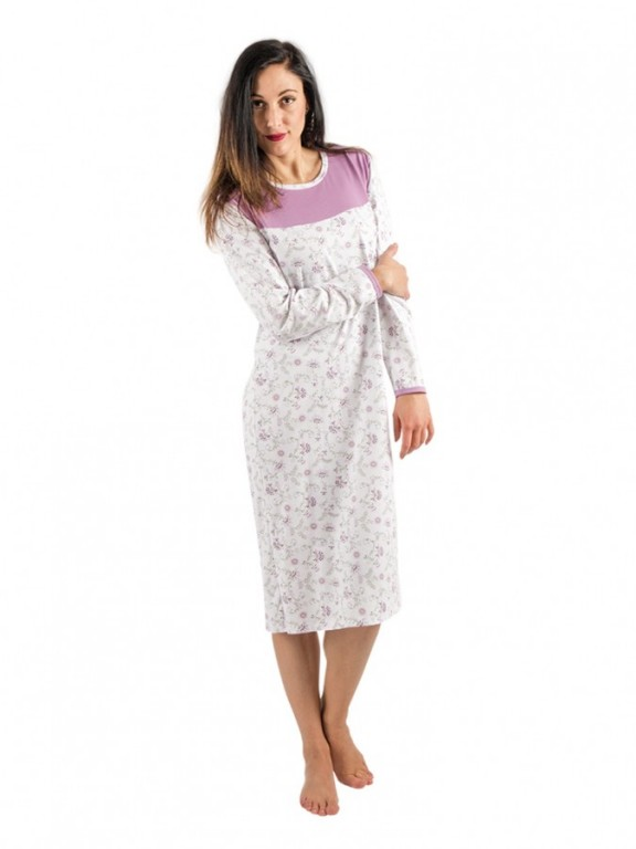 Dámská noční košile P MATYLDA fialové květy