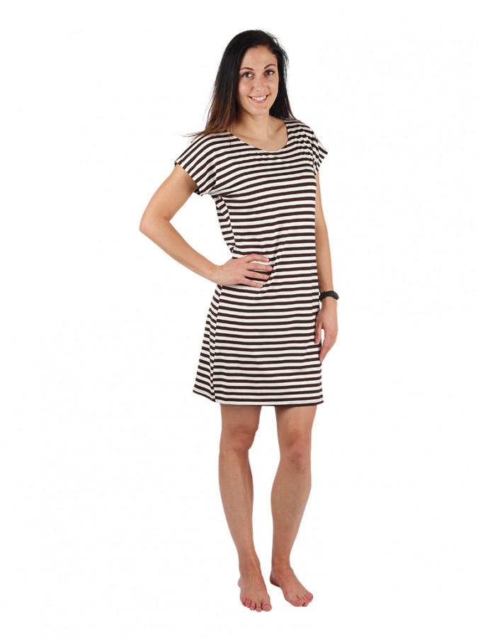 Dámské krátké šaty TEMPESTA hnědý proužek  478023d41e